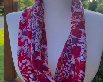 Cowl neck scarf, abstract pink floral, 9 x 16""
