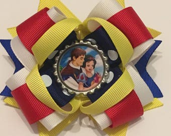 Snow White Boutique Stacked hair bow French barrette