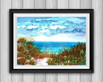 digital download, print, dunes, download, sea, wall decor, ocean, watercolor, instant. Office, living room, bedroom
