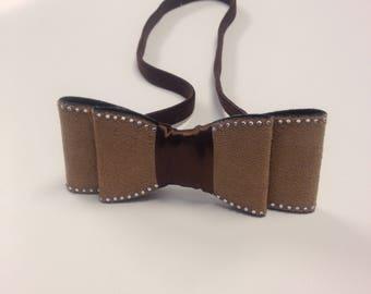 Tan and brown bow elastic headband