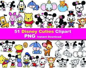 50x Disney Cuties Cartoon Clipart PNG printable Digital Graphic Instant Download