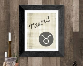 Taurus Zodiac Art, Taurus Astrology Symbol, Taurus DIY Printable Poster, Taurus Wall Hanging, Gray Taurus Poster, Taurus Horoscope Art Work