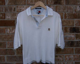Tommy Hilfiger crop top dad polo shirt vintage reworked large