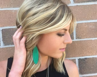 emerald green textured long oval leather earring