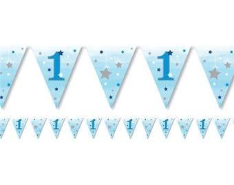 Age 1 Bunting, Birthday Bunting, Blue Bunting, 1st Birthday, Party Bunting, 1st Birthday Decor, Paper bunting, birthday garland