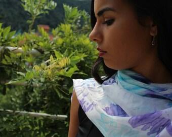 summer silk scarf hand dyed with the arashi shibori technique/blue and purple/foulard/marble effect/100%silk/55x18 in