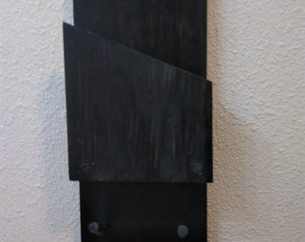 Rustic entryway hey hook with mail slot. mail organizer with hey holder, wall hanging STAINED in classic black