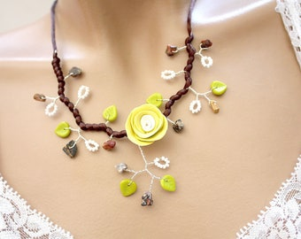 Branch necklace brown yellow and green