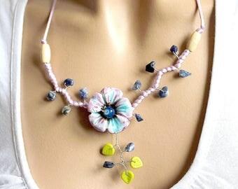 Volubilis purple ceramic Flower necklace