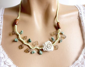 Porcelain necklace cold flower branch beads.