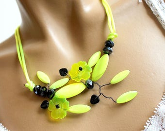 Japanese garden inspired necklace, neon yellow and black cherry blossom