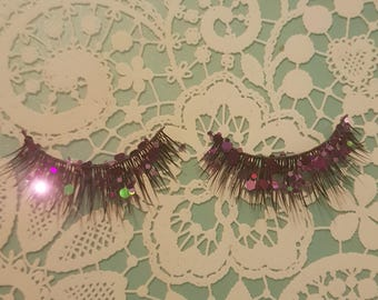 Purple mermaid glitter false eyelashes