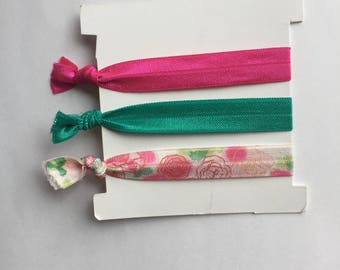Summer Roses Hair Ties, 3 peice