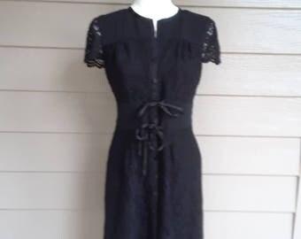 Retro Black Lace Dress
