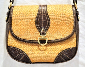 Cute Vintage Tan And Brown Genuine Leather Woven Over The Shoulder Handbag Bags And Purses ChooseFlavor