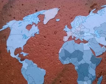 World Map salvaged tiled
