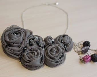 Gray Pink Statement Bib Necklace Fabric Flower Rosette Statement Fabric Necklace Bridal Necklace Textile Necklace Transformation Necklace