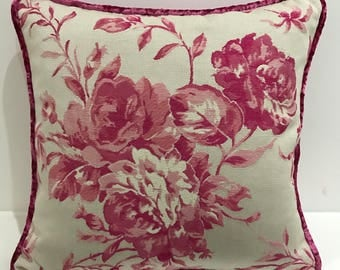 Sanderson with pink crushed velvet reverse - pink floral design on white with pink crushed velvet reverse and piping - 18x18in