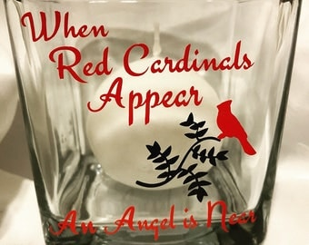 "Red Cardinals candleholder  ""when Red Cardinals appear an Angel is Near"""