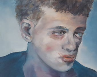 Portrait Original Oil Painting Boy Staring in Blues