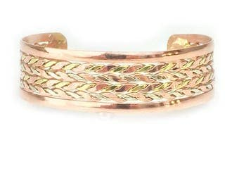 Patterned Copper Bracelet for Men and Women (one-size-fits-all)