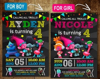 Trolls Birthday Invitation. Trolls Invitations. Trolls Invitation. Trolls Birthday Party. Trolls Party. DIY