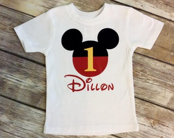 Any Age Mickey Mouse Birthday Shirt, Disney Mickey T Shirts, Mickey First Birthday T Shirt, Mickey Red Black Yellow, 1st Birthday Shirt