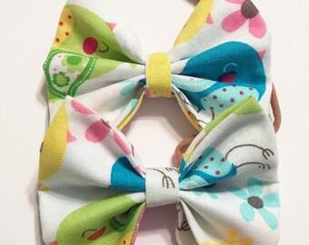 Little birdies bow baby headband