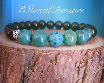 Chrysocolla Black Onyx Natural Gemstone Bracelet (communication, power, teaching)