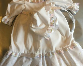 Dolls Gown, Petticoat, Knickers and hat set. For 14 inch reborn doll or 12-14 inch doll.