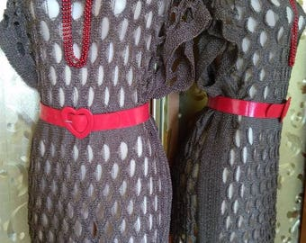 Spectacular openwork long waistcoat, mini dress. The universal size of M is XXXL.
