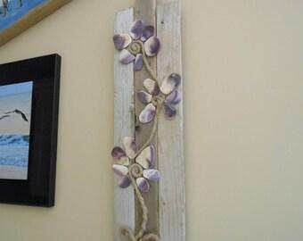 Purple Orchid Flower Seashell U0026 Driftwood Wall Art Beach Decor   Hamptons  NY Shells And