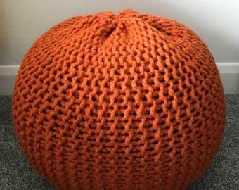 Burnt Orange Handmade Knitted Pouffe