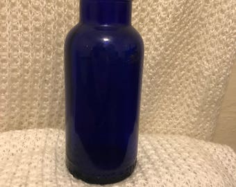 Vintage cobalt blue glass bromo seltzer bottle