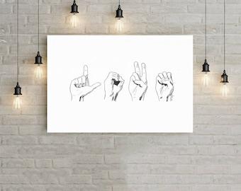 Love Sign Language, Drawing, Instant Download, Printable Wall Art, Digital Download Art