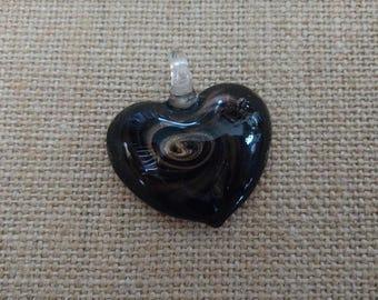 Lampwork Glass Pendant, Gold Pendant, Necklace Pendant, Glass Necklace Pendant, Jewelry Pendant, Glass Bead, Heart Pendant, Glass Heart
