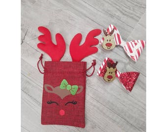 Reindeer burlap accesories gift bag//gift bags//Christmas bows//girl accesories