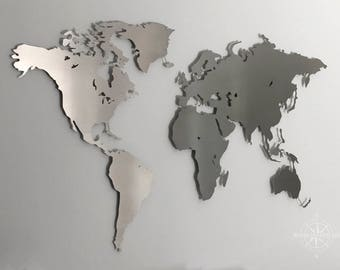 Map of the world made of stainless steel - wall decoration (wall painting, steel, metal, modern, decorative)