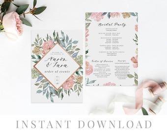 Printable Wedding Program INSTANT DOWNLOAD, Paddle Program, Program Fan, DIY Wedding Ceremony, Templett, Editable pdf, Dusty Pink, Papillion