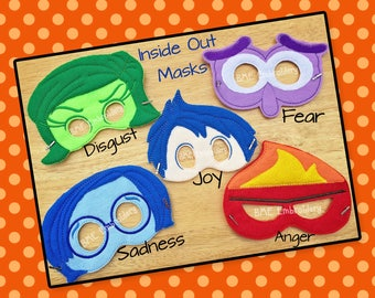 Inside Out Inspired Felt Mask- Joy-Fear-Disgust-Sadness-Anger-Child's Dress Up Imaginary Play- Birthday Party Favor-Photo Shoot-Theme Party