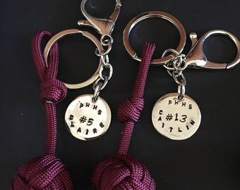 Hand volleyball keychain with monkey fist