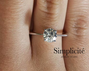1.01 ct VS2 Round Cut Diamond Ring, Solitaire Engagement Ring White Gold 14k