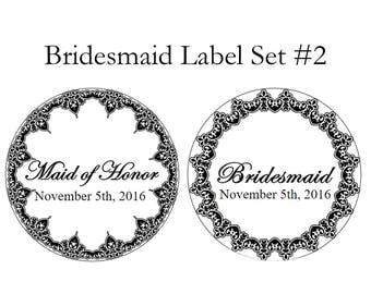 Bridesmaid favor stickers, custom text, gothic wedding, custom label, custom sticker favors, celtic style, geometric pattern