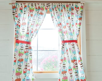 Colorful owls playhouse curtains