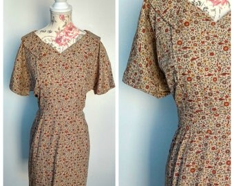 vintage 1950's brown day dress with floral and bird print