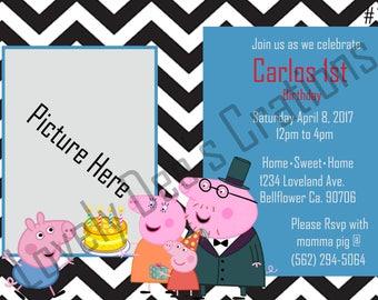 George Pig, George Pig Invitations, George Pig Birthday Invite