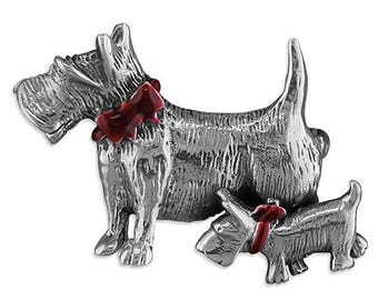 Scottie Dogs Sterling Silver Brooch