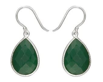 Go Green Onyx Teardrop Sterling Silver Earrings