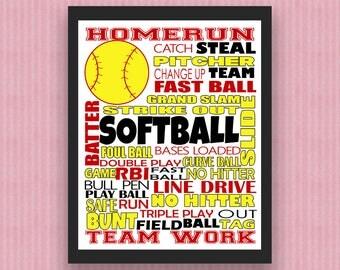 Softball Print, Softball Digital Print, Softball Poster, Softball Wall Art, Softball Decor, Softball Printable, Coach Gift