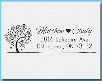 Love Tree Return Address Stamp, Invitation Address Stamp, Custom Wedding Address Stamp, Calligraphy Return Address Stamp